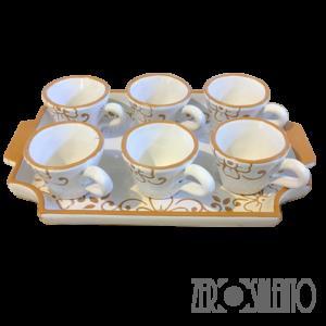 Servizio tazze caffè con vassoio decoro graffiato a incisione artigianale al 100% - by ZeroSalento