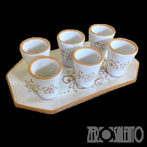 Set bicchieri limoncello e liquori e vassoio in terracotta con decoro graffiato a incisione - by ZeroSalento