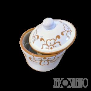 Zuccheriera per servizio caffè o tè con decoro graffiato a incisione - by ZeroSalento