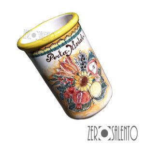 Vaso Porta Mestoli girasole - melograne - fiori dipinto a mano in Terracotta by ZeroSalento