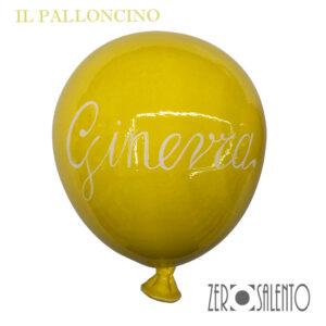 Palloni e Palloncini in Terracotta colorati Giallo con nome Ginevra