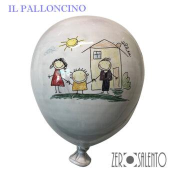 Palloni e Palloncini in Terracotta colorati con disegno deilla Famiglia Bambini