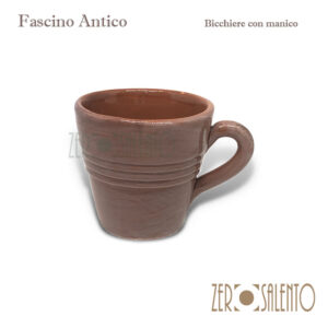 Bicchiere con manico tortora Fascino Antico - ZeroSalento