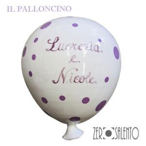 Palloni e Palloncini in Terracotta colorati Bianco a Pois Viola