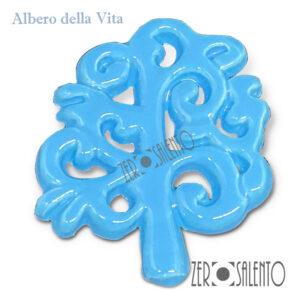 Albero della vita intagliato in terracotta smaltato colore azzurro zerosalento