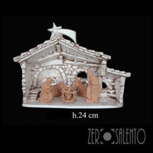 Capanna Sacra Famiglia Natale bianco anticato TERNAT046