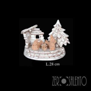 Capanna Sacra Famiglia Natale bianco anticato TERNAT037