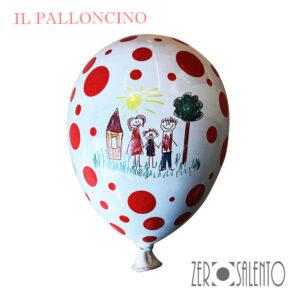 Palloni e Palloncini in Terracotta colorati bianco a pois rosso con famiglia