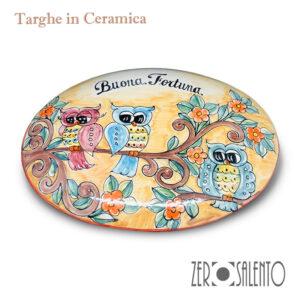 Targa-ovale-Buona-Fortuna-3-con-civette-innamorate