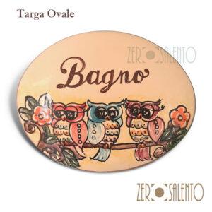 """Targa ovale con nome personalizzato """"bagno"""""""