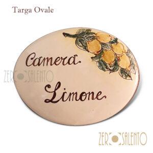 """Targa ovale con nome personalizzato """"camera limone"""" by ZeroSalento"""