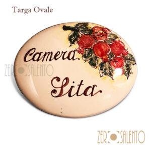 """Targa ovale con nome personalizzato """"camera sita"""""""