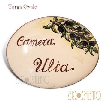 Targa personalizzabile in ceramica modello ovale con ramo d'ulivo
