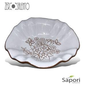 Centrotavola in Terracotta bianco decoro a incisione a mano Cesto Santa Cesarea - by ZeroSalento