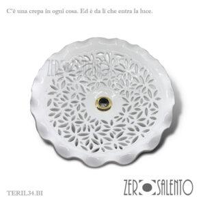 Piatto luce per lampada a soffitto in terracotta intagliato a mano Bianco TERIL34.BI --by ZeroSalento
