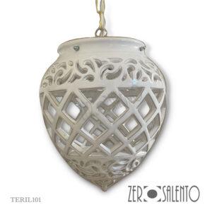 Lampadario a forma di Pigna intagliato bianco TERIL101